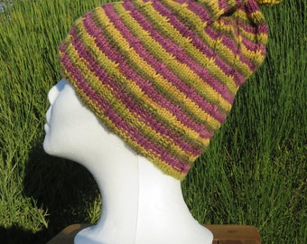 Hand knitted Wool Bobble Hat, Hand made Bobble hat, Pom pom Hat,