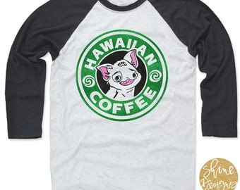 Hawaiian Coffee - Moana Shirt - Pua Glitter Shirt - Disney Glitter Shirt