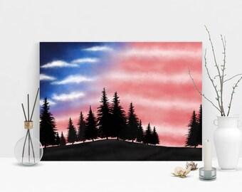Patriotic Canvas Art, USA Wall Decor, Patriotic Art Print, USA Flag Forest Sunset, Patriotic Art Decor, Patriotic Sunset, Tabletop Canvas