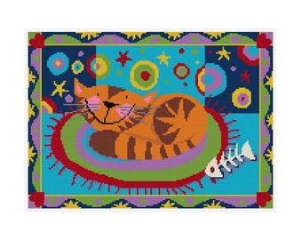 Sleepy Cat - Durene J Cross Stitch Pattern