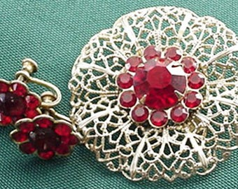 Vintage Filigree Brooch and Earrings Set, Red Rhinestones