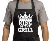 KING Of The Grill BBQ Apron  Summer Time BBQ Chef Black Apron