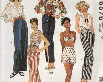FREE US SHIP McCall's 6576 Cropped Shirttail Tops Bra Skirt Pants Shirt 1993 1990's Uncut Sewing Pattern  Size 8, 10 Bust 31 32