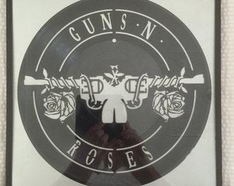 "Guns n Roses vinyl record wall art - upcycled from an original 12"" vinyl record"