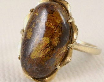 Gold Bronzite Ring, Vintage 10K Yellow Gold Bronzite Stone Ring