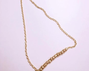 Beaded Gold Bar Necklace