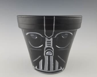 Darth Vader-style Hand-Painted Flower Pot