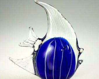 Tropical Angel Fish Sculpture Cobalt Blue Crystal Art Glass Sculpture Vintage