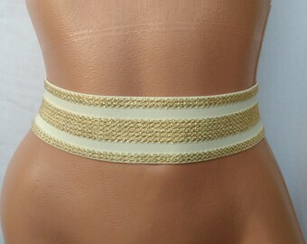 "Wedding Gold belt Golden beige Waist cincher Stretch belt Bridal elastic belt  womens elastic cinch belt 2"" Special occasion"