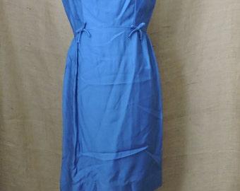 New Listing** - 2772 - Vintage Dress Suit Size M Royal Blue Solid Long Sleeve Knee Length Acetate 1970s