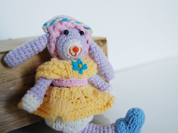 Amigurumi Bunny In Dress : Amigurumi Crochet Girl Bunny Rabbit With Knitted Dress