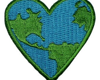 Heart Shaped Earth Applique Patch (Iron on)