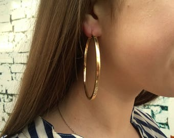 X Large 14k Gold Earrings 14k Gold Hoop Earrings Solid Gold Earrings Yellow Gold Earrings Yellow Gold Hoop Earrings Yellow Gold Earrings