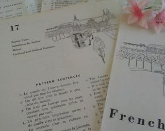 Vintage French Lesson book pages Bundle of 8 Learn to speak French-English vocabulary paper ephemera textbook scrapbooking illustrations