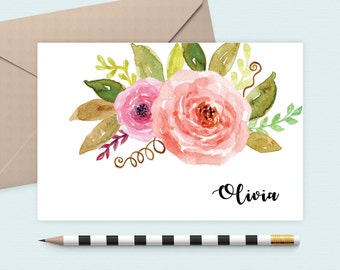 Personalized stationery set/Floral Notecard/Monogram Note Card/Personalized stationery, custom notecard