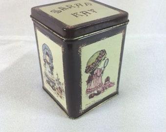 Vintage Sarah Kay Tin Sarah Kay Tin Canister Sarah Kay Storage Tin Vintage Sarah Kay Collectible