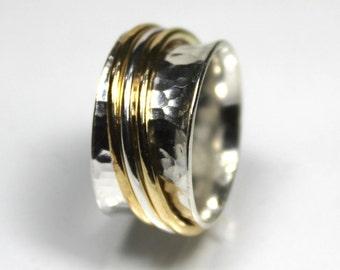 Sterling Silver and Brass Dimpled Spinner Ring, Sterling Silver Spinning Ring, Fidget Ring, Mixed Metal Spinner, Worry Ring, Gifts For Her,