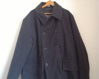 1998 A/W Stone Island Double Breasted Pea Coat, Size L, Wool Blend