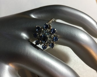 Vintage Blue and White Topaz Ring Size 5.5