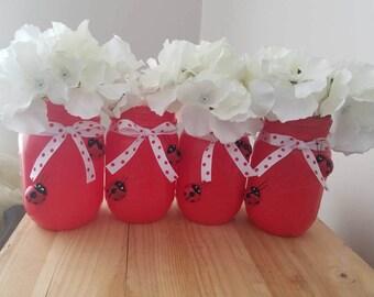 Red LadyBug Mason Jars. Spring time Jars. Red Mason Jar Vases. LadyBug Home Decor. Red mason Jars