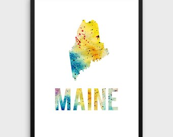Watercolor Maine Printable Poster | Maine Poster, Maine Art Print, Maine State Art, Watercolor Art, State Art