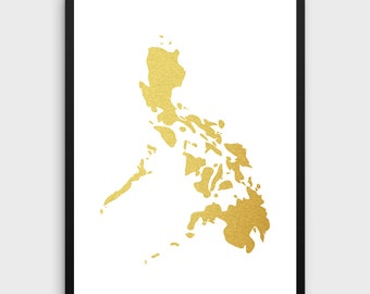 Philippines art etsy gold foil philippines map printable map wall art philippines map print philippines publicscrutiny Images