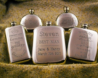 English Pewter Rounded Kidney Hip Flask Personalised Gift Engraved Hip Flask