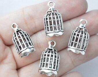 4 Pcs Birdcage Charms Antique Silver Tone 3D 24x13mm - YD0538
