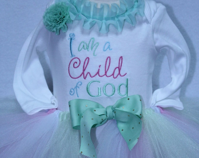 Baby girl blessing outfit, girl baptism outfit, Child of God,Easter Dress,Baptism bodysuit, mint green,Pink tutu, Mint green headband