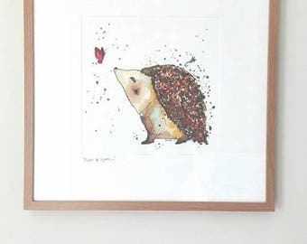 Original Hedgehog Art, Framed Watercolour Hedgehog, Original Watercolour Painting, Original Artwork, Large Hedgehog Gift, Large Wall Art