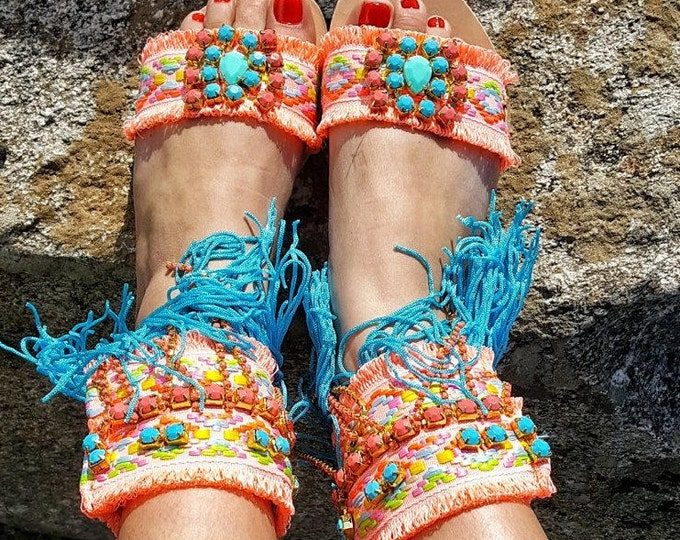"Greek sandals ""JUICY PEACH "" fringes sandals,boho ,ethnic,handmade sandals,leather sandals,women's sandals ,bohemian gladiator sandals"