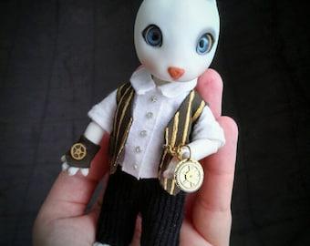 """Tiny BJD 4"""" / 12 cm tall - Hujoo Rabbi - Steampunk Rabbit Adventurer OOAK doll"""