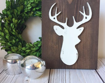 Deer Antler - Deer Decor - Rustic Home Decor - Deer Head - Deer Skull - Wood Signs - Rustic Wood Signs - Nursery Decor - Rustic Nursery