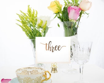 Blush and Rose Gold Foil Calligraphy Table Numbers Handmade Wedding