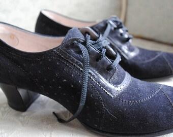 Vintage Black Suede Women's Shoe size 6.5AAA