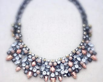 Silver statement necklace, silver necklace, silver jewelry, statement necklace, statement necklaces, chunky necklace, crystal statement