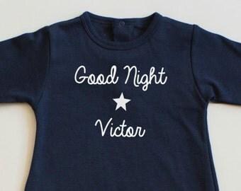 good night personalized baby pajamas-personalized baby's name pajamas-custom pajamas-good night+baby's name footie-toddler baby's name