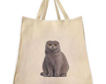 Pet Gifts, Canvas Tote Bag, Scottish Fold Cat Gifts for Cat Lovers, Gifts for Cat Lovers And Owners, Shoulder Handbag and Grocery Tote