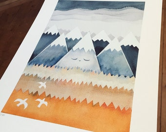 Sleepy Mountain - Fine Art Giclée limited edition print of a mountain