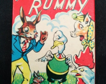 Vintage Card Game - Animal Rummy By Clifford - Clifford Series Card Game Of Animal Rummy-Complete Set With Original Box And Instruction Card