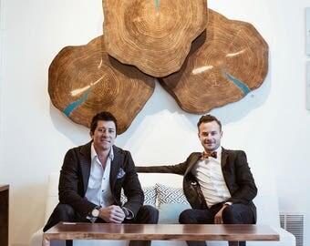 Blue Cookies - Original Wood Art Contemporary Lodge Decor Wooden Wall Sculpture Modern Nature Art by Renowned Artist Adam Schwoeppe