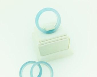 light blue Agate Ring 6mm positive energy geode men women metaphysical