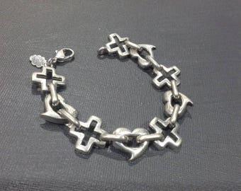 Andre Courreges Paris Silver Modernist Hearts & Crosses Bracelet Vintage 1960's
