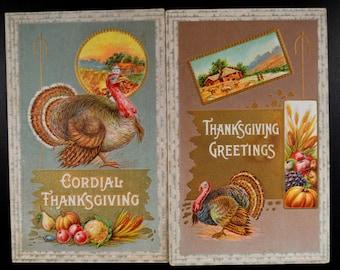 Thanksgiving Postcards Pair Turkey Harvest Autumn 33C