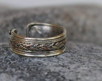 ring vintage silver Tibetan man. Adjustable