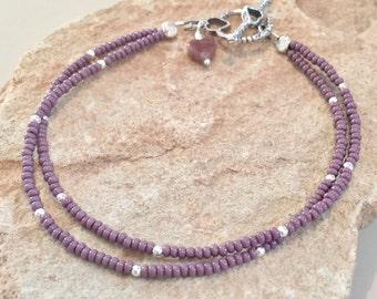 Purple double strand seed bead bracelet, silver bracelet, Hill Tribe silver bracelet, heart charm, charm bracelet, boho bracelet