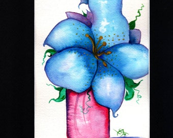 Blue Flower in Purple Vase