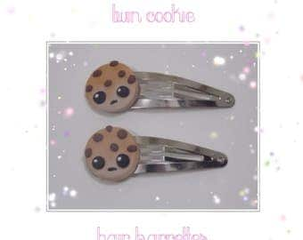 Twin Cookie Hair Barrettes - Polymer Clay