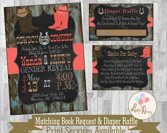 Cowboy Or Cowgirl Gender Reveal - Rustic Gender Reveal Invitation - Boots  or Bows - Coed