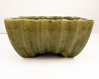 Scalloped Green Glazed Rectangular Window Sill Planter, 4X6 , Succulent, African Violet Planter, Nice and Deep,